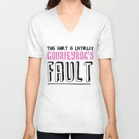 fault V-neck T-shirts featuring courfeyrac's fault by Gender Monster