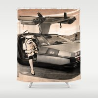 delorean Shower Curtains featuring 2 Stormtrooopers in a Hover DeLorean  by Vin Zzep