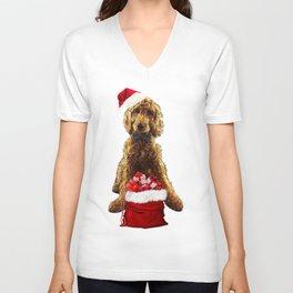 Christmas Dog Golden Doodle Unisex V-Neck