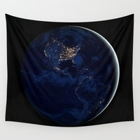 globe Wall Tapestries featuring City Lights (Globe) by EarthMoonStars