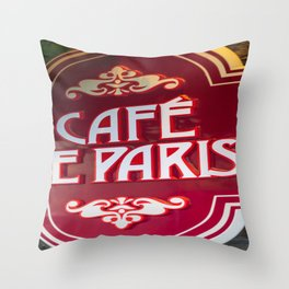 Quebec City French Cafe Print Throw Pillow