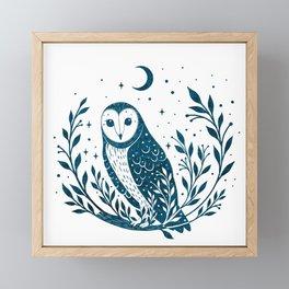 Owl Moon - Blue Framed Mini Art Print