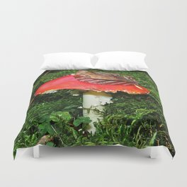 Fly agaric in the moss Duvet Cover