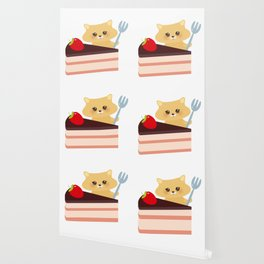 cute kawaii hamster with fork, Sweet cake decorated with fresh Strawberry, pink cream and chocolate Wallpaper