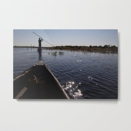 Mokoro on the Delta Metal Print