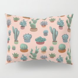 Potted Cacti and Succulents on Sahara Rose background. Pillow Sham
