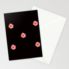 Pink Pansies on Black by Aloha Kea Photography Stationery Cards