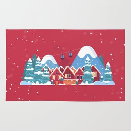 Merry Christmas Background With Winter holidays in the mountains concept banner. Rug