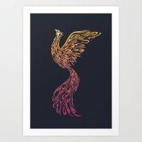 phoenix Art Prints featuring Phoenix by Freeminds