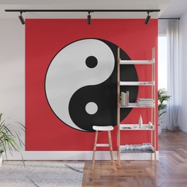 Yin and yang Symbol on red Wall Mural