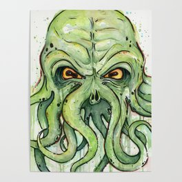 Cthulhu HP Lovecraft Green Monster Tentacles Poster