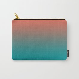 Pantone Living Coral & Viridian Green Gradient Ombre Blend Carry-All Pouch