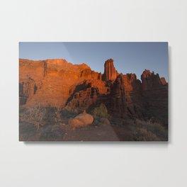 Sunset in Fisher Towers, Moab, Utah Metal Print