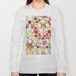 Easter rabbit with spring flowers, watercolor Long Sleeve T-shirt