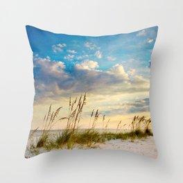 Sea Oats Beach Sunset Throw Pillow