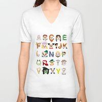 oz V-neck T-shirts featuring Oz-abet (an Oz Alphabet) by Mike Boon