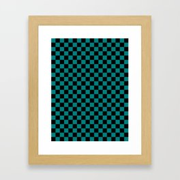 Black and Teal Green Checkerboard Framed Art Print