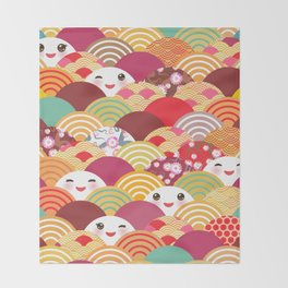 Kawaii Nature background with japanese sakura flower, wave pattern Throw Blanket
