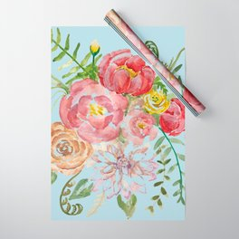 Bouquet of Watercolor on Blue Background Wrapping Paper