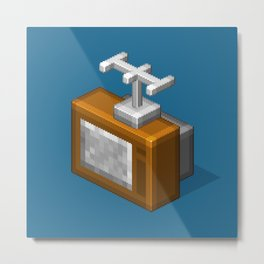 Retro TV television pixel art Metal Print