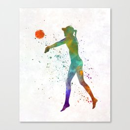 Woman beach volley ball player 02 in watercolor Canvas Print