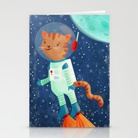 space cat Stationery Cards featuring Space Cat by Stephanie Fizer Coleman