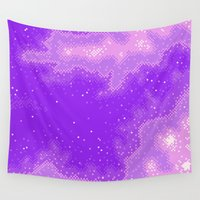 8bit Wall Tapestries featuring Purple Nebula (8bit) by Sarajea