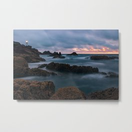 Foggy Corbiere Lighthouse in Jersey Metal Print