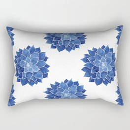 Indigo Succulent |  Watercolor Painting Rectangular Pillow