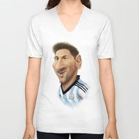 messi V-neck T-shirts featuring Messi - Argentina by Sant Toscanni