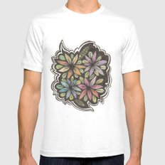 Floral Collage MEDIUM White Mens Fitted Tee