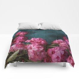 Peony Romance Teal Comforters