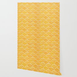 Japanese Seigaiha Wave – Marigold Palette Wallpaper