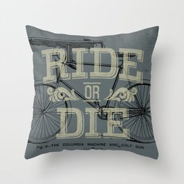 Ride Or Die Bicycle Print Throw Pillow
