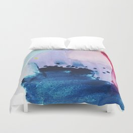 PYT: a minimal abstract mixed media piece on canvas in blues, pink, purple, and white Duvet Cover