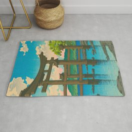 Vintage Japanese Woodblock Print Torii In Water Sacred Shinto Shrine Rug
