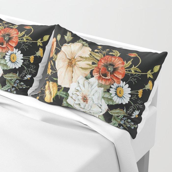 Wildflower Bouquet on Charcoal Kissenbezug