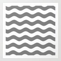 Wavy Stripes (Gray/White) Art Print