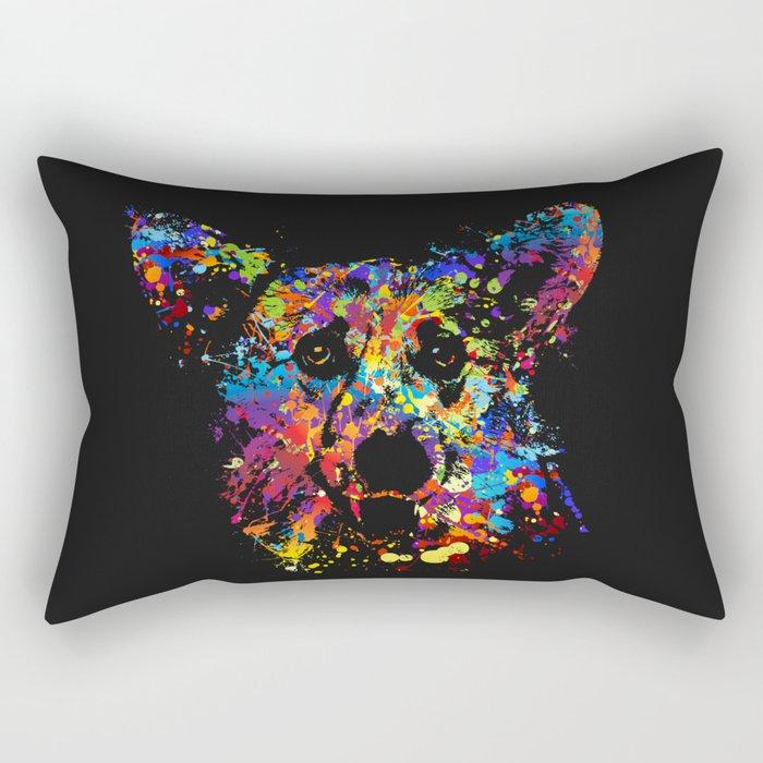 Colorful  Corgi Portrait Rectangular Pillow