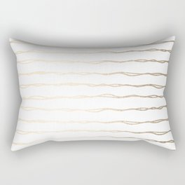 Simply Wavy Lines in White Gold Sands on White Rectangular Pillow