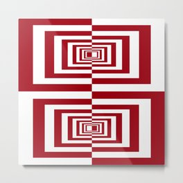 Red And White Symetrical Geometric Rectangles Metal Print