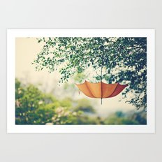Orange Umbrella  Art Print