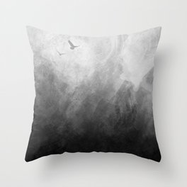 Full Moon Solstice: Abstract Black and White Throw Pillow
