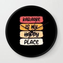Retro Karaoke Is My Happy Place Music Lover Singer Wall Clock