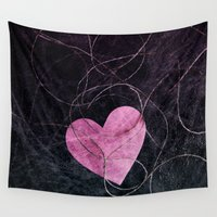 grunge Wall Tapestries featuring Heart grunge  by VanessaGF