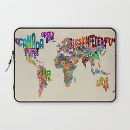 Typography Text Map of the World Laptop Sleeve