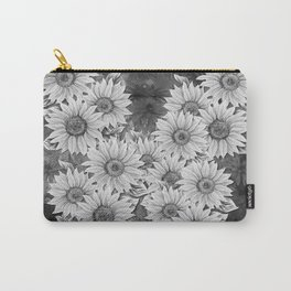 Watercolor Sunflower Pattern (Black and White) Carry-All Pouch