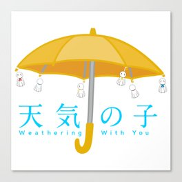 Weathering with you umbrella with rain dolls Canvas Print