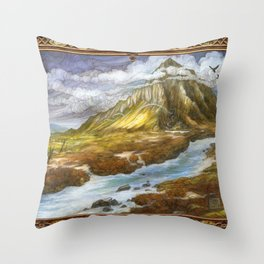 Lonely Mountain (bordered) Throw Pillow