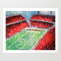 ohio state Art Prints featuring Ohio State Buckeyes by Emily Kenney